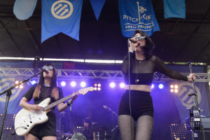 Dee Dee of Dum Dum Girls performs during Pitchfork Music Festival at Union Park.