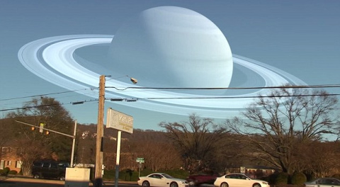 As the sky would look like if the moon is swapped with other planets