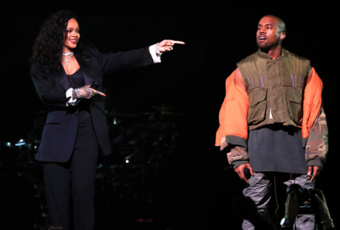 Kanye West & Rihanna Perform At Super Bowl Party