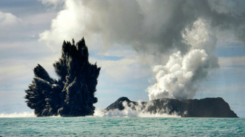 Volcanic eruption in Tonga creates new island